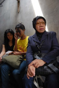 Caring souls: (From left to right): Adel, Shanti and Nency sit in a waiting room at Cipto Mangunkusumo Hospital, in Salemba, Jakarta, after fellow transsexual and AIDS activist Shakira was shot by unidentified assailants at Taman Lawang in Central Jakarta at dawn last month. JP/Wendra Ajistyatama