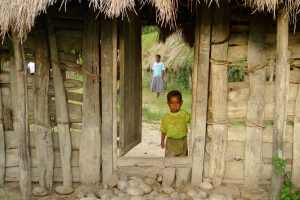 A little boy looks out from the gate of his house in Jiwika, Jayawijaya Papua. Photo by Prodita Sabarini