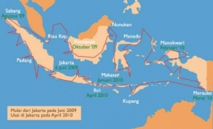 The trip of a lifetime: A map outlines Farid and Yunus' trip between June 2009 to July 2010
